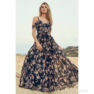 Romantic Fantasy Pink Black Floral Print MaxiDress